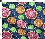 Spoonflower Stoff – Citrus Pop Night Obst Orangen Limes