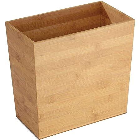 mDesign Poubelle 'bambou' carré - idéal comme poubelle normale ou comme corbeille à papier - plastique durable - pour cuisine, salle de bain et bureau - design moderne et materiaux de bonne qualité