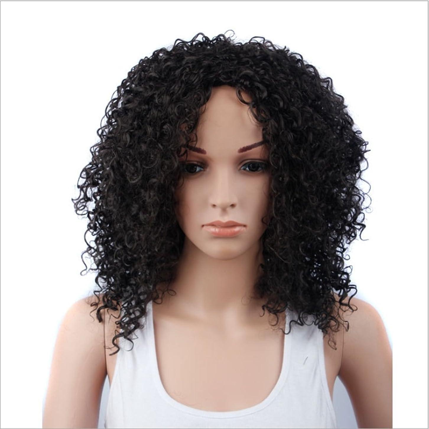 後方にバーターお嬢JIANFU 女性のための15inch合成高温ウィッグロングバンズの短いカーリーウィッグヘアナチュラルカラーウィッグ耐熱性210g(ワインレッド、ブラック) (Color : ブラック)