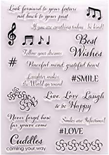 LZBRDY 5.7 by 8.3 Inch Flower Musical Notes Wishes Words Clear Rubber Stamps for Scrapbooking and Card Making