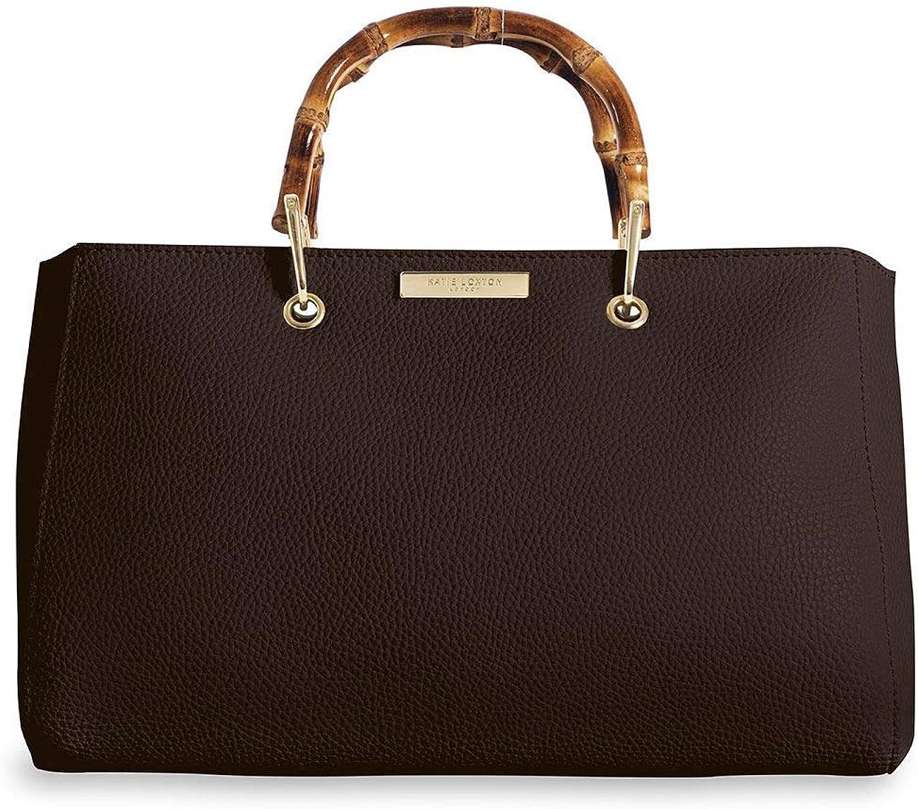 Katie Loxton Avery Dark Brown Large Women's Vegan Leather Bamboo Top Handle Handbag