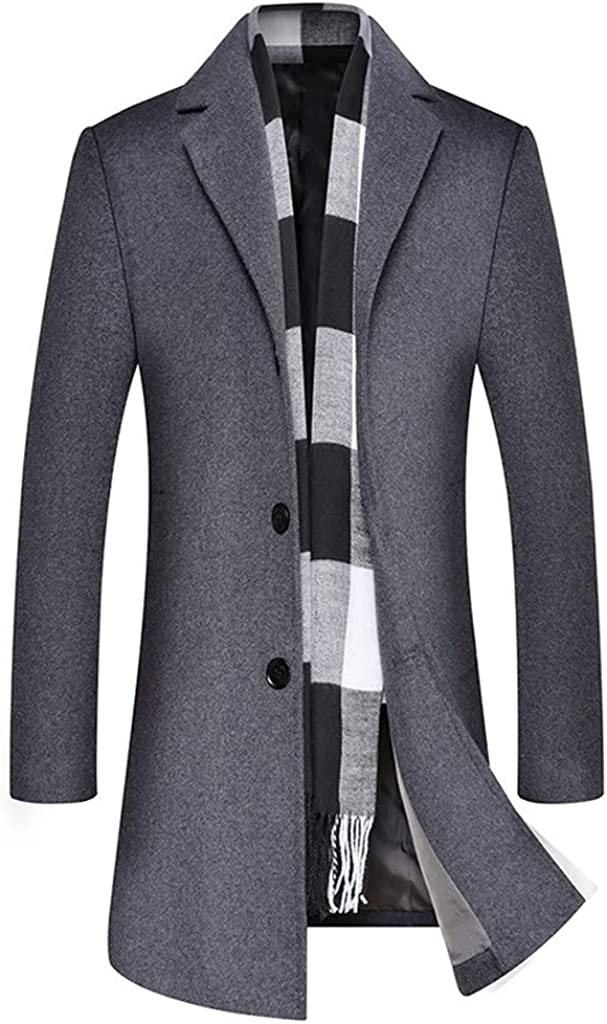 GREFER-Mens Trench Coat Stylish Notched Collar Single Breasted Business Mid-Length Jacket Slim Fit Outwear
