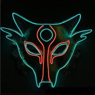 Halloween EL Cold Light Glow Mask LED Wolf Head Shape Glow Mask/Halloween Cosplay Horror Full Face happyL