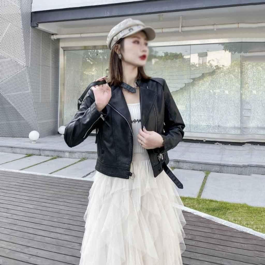 UXZDX Women's Spring and Autumn Leather Jacket Korean Style Slim Slim Fashion All-Match Short PU Leather Jacket Jacket (Color : B, Size : Medium)