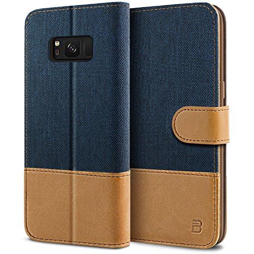BEZ Hülle für Galaxy S8 Hülle, Handyhülle Kompatibel für Samsung Galaxy S8, Handytasche Schutzhülle Tasche [Stoff und PU Leder] mit Kreditkartenhaltern, Blau Marine