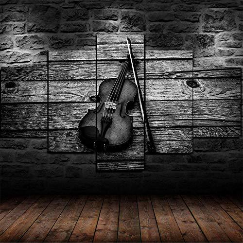 HFDSA 5 Piezas Cuadros Modernos Impresión De Imagen Artística Digitalizada Lienzo Decorativo para Tu Salón O Dormitorio Instrumento Musical De Arco De Violín Regalo 150 X 80 Cm.