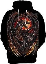 CHENMA Men Dragon 3D Print Pullover Hoodie Fleece Lined Winter Sweatshirt with Front Pocket
