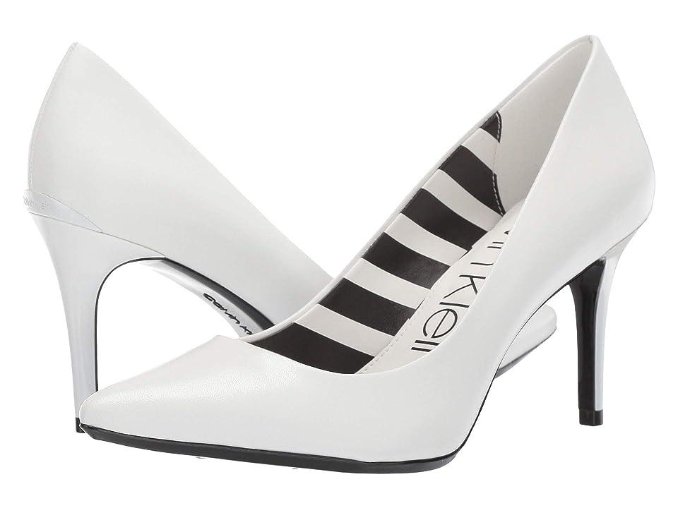 Calvin Klein Gayle Pump (White Leather Stripes) High Heels