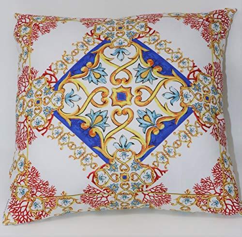 Dekorativa kuddar med fyllning av ren bomull panama och värdefull digitaltryck Annamaria Art. Maioli och Coralli 966 cm 50 x 50