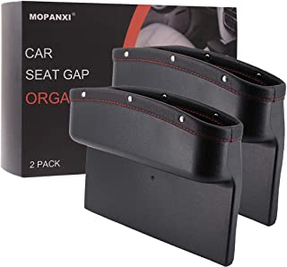 MOPANXI Car Seat Pockets PU Leather Car Console Side Organizer Seat Gap Filler Catch Caddy with Non -Slip Mat 9.2x6.5x2.1 inch Black (2 Pack)