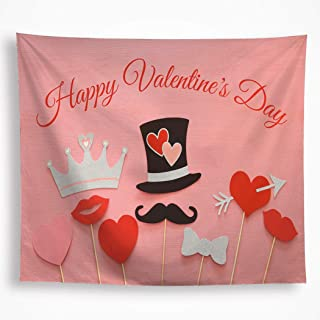 VAKADO Romantic Valentine's Day Tapestry Wall Hanging Decorations Love Arrow Hearts Decorative Red Lips Black Beard Wall Blanket Decor for Party Bed Living Room Classroom 59X82.6, Pink