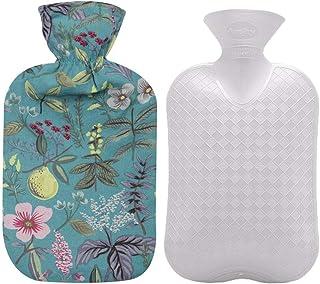 بطری آب گرم Fashy با پوشش گلدان پنبه ای (آبی، 67oz)
