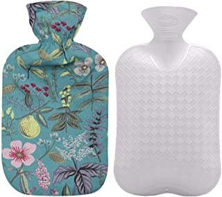 Fashy Hot Water Bottle with Flower Pattern Cotton Cover (Blue, 67oz)