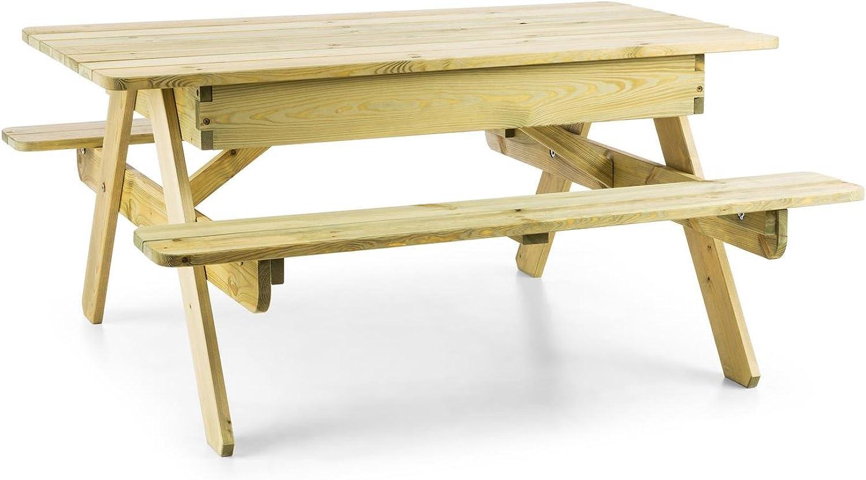 Blaumfeldt Zaubersand  Kinder-Picknick-Tisch  Spieltisch  Gartentisch  Sandkasten  35cm Sitzhhe  abnehmbare Tischplatte  abgerundete Kanten  witterungsfest  Kiefernholz  Hellbraun