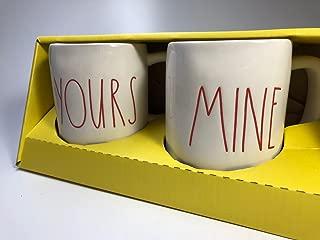 NIB RAE DUNN Magenta Yours Mine Coffee Tea Mug Set of 2