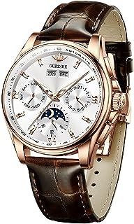 Sponsored Ad - OUPINKE Swiss Brand Men Automatic Watch Luxury Business Mechanical Leather Strap Multi Calendar Waterproof ...