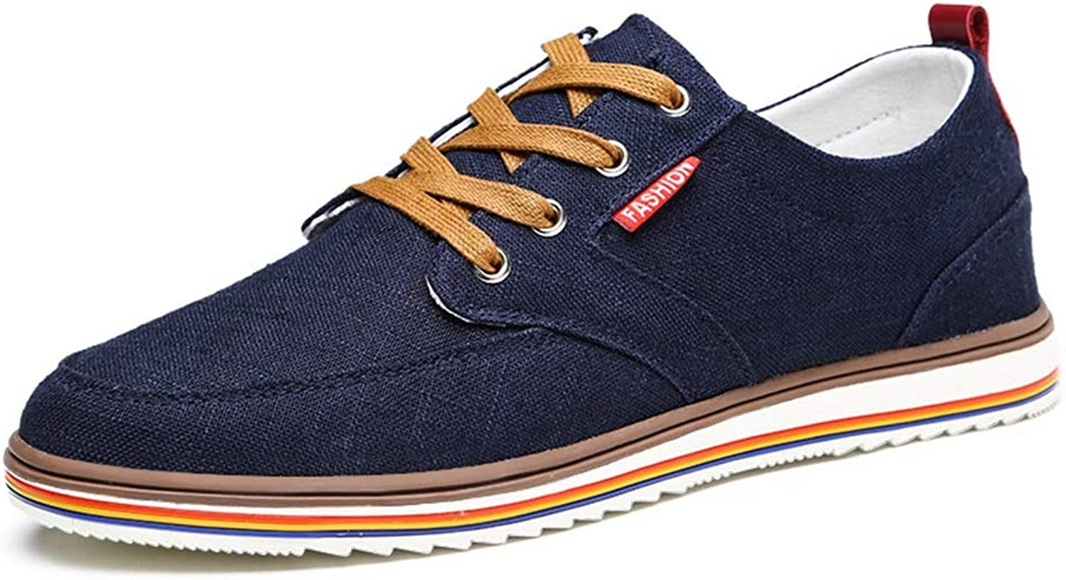 Easy Go Shopping Athletic shoes For Men Fashion Sports shoes Lace Up Style Linen Light And Soft Round Toe driving shoes for men Cricket shoes (color   Darkbluee, Size   10 UK)