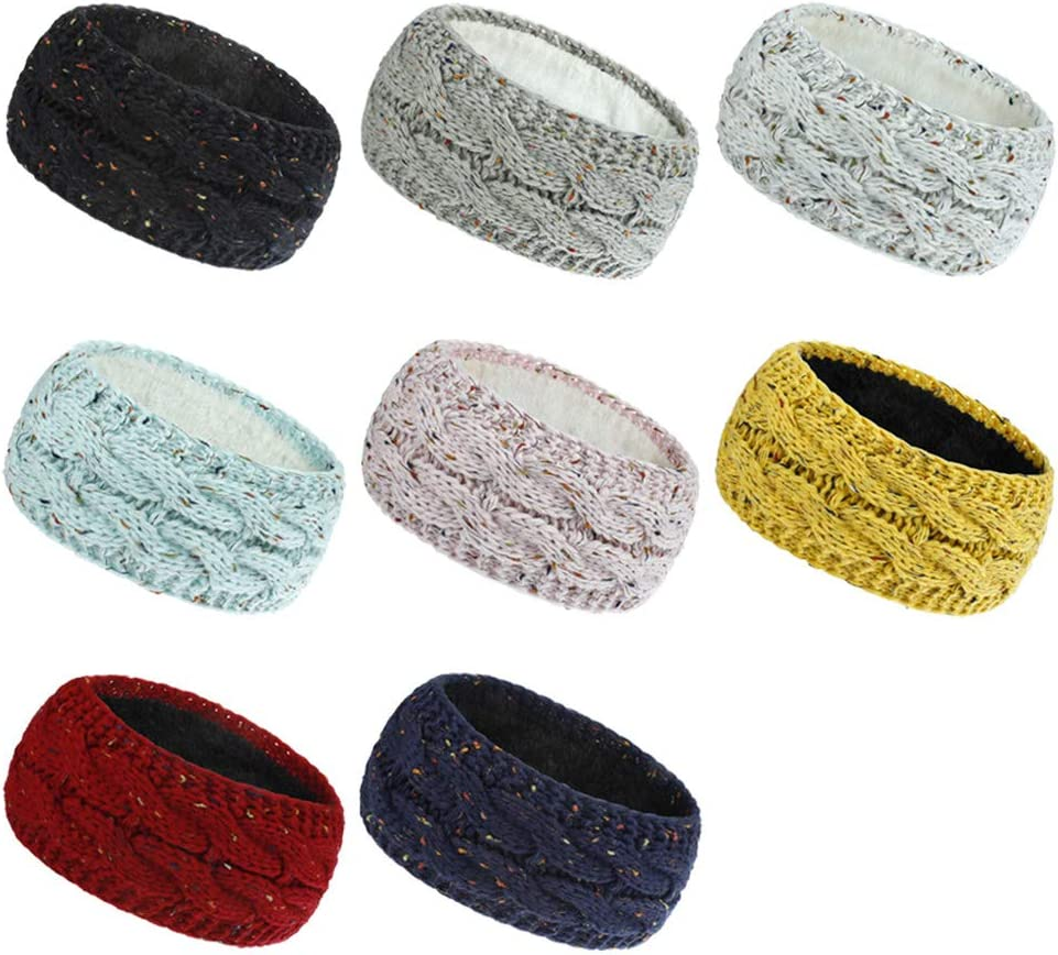 Women Girl Lady Winter Thicken Plush Lined Headband Twisted Cable Knitted Colorful Confetti Head Wrap Chunky Crochet Double Layer Stretch Turban Ear Warmer