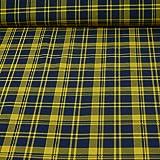 Sweatstoff Dundee, kariert, blau/gelb (25cm x 150cm)