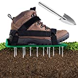 Ohuhu Lawn Aerator Shoes with Stainless Steel Shovel, Free-Installation Aerating Shoe with Hook & Loop Straps, Heavy Duty Spiked Aerating Sandals, One-Size-Fits-All for Yard Patio Garden Grass Lawn