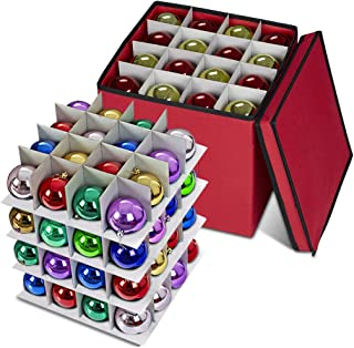 Propik Holiday Ornament Storage Box Chest, 4 Tier Holds Up to 64 Ornaments Balls, with Dividers Made with Durable 600D Oxford Material (Red)