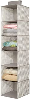 mDesign Long Soft Fabric Over Closet Rod Hanging Storage Organizer with 6 Shelves for Clothes, Leggings, Lingerie, T Shirts - Chevron Zig-Zag Print with Solid Trim - Taupe/Natural