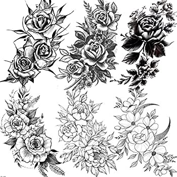 EGMBGM 6 Sheets 3D Sexy Flower Temporary Tattoos For Women Girls Black Ink Tribal Large Rose Tattoos Temporary Sticker Adults Waterproof Legs Fake Tatoos Arm Moon Blossom Leaf Big Peony Flora Sketch