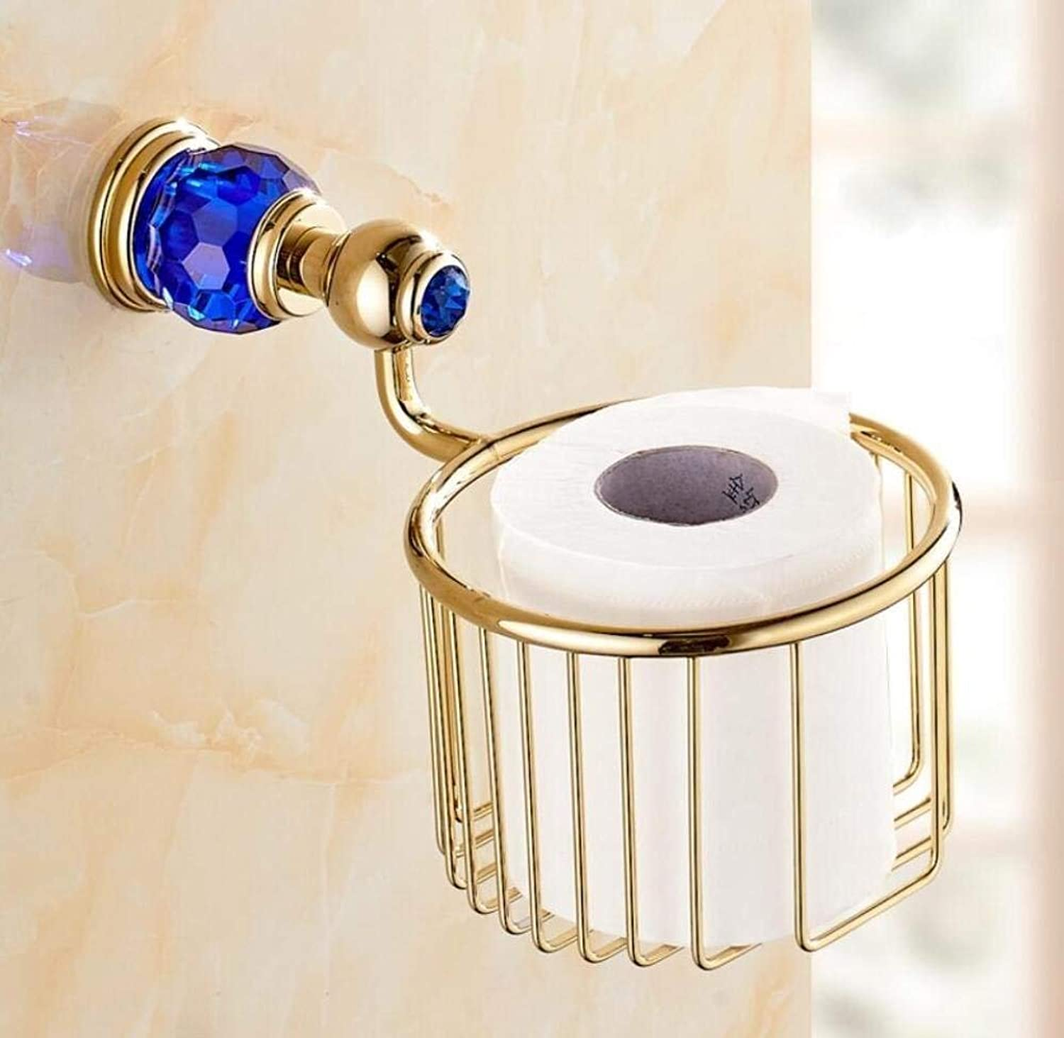 All Door-Roll of Paper in Bronze of European Style Shopping Cart Paper Towels Paper Towels Cristal Pendentif Cylinder Paper Holder WC Bathroom,a,14.5  24cm