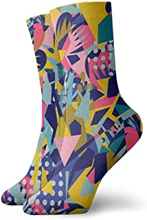 Kevin-Shop, Abstract Floral Elemants Classic Crew Calcetines Tejidos Planos Casual Athletic Stoking Soft