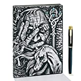 Vintage 3D Pharaoh Embossed Leather Writing Journal with Golden Pen Set,A5,200Pages,Antique Handmade Daily Notepad Sketchbook,Travel Diary&Notebook to Write in,Gift for Women Men (Pharaoh(Silver))