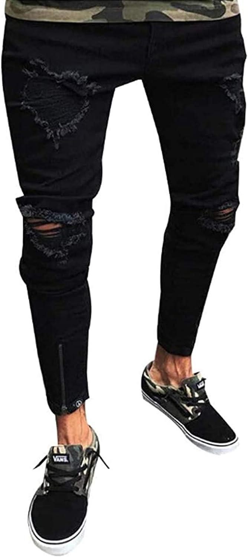 San Francisco Mall Mens Skinny Jeans Max 81% OFF Stretch Slim Tapered Fit Distressed Ripped Leg