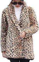 TOTOD Coat for Women, Plus Size Womens Warm Leopard Print Faux Fur Coat Ladies Jacket Winter Parka Outerwear