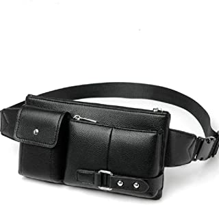 DFV mobile - Bag Fanny Pack Leather Waist Shoulder bag for Ebook Tablet MI PAD/iPAD mini/GALAXY TAB A 8.0 / MEDIAPAD M6 / LENOVO TAB V7 / VKWORLD T1 PLUS KRATOS > Black