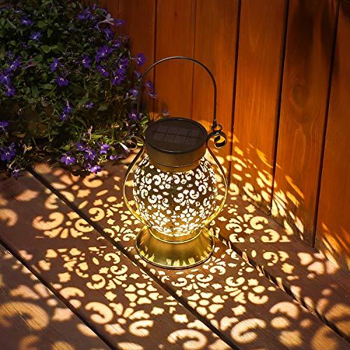 Lanterne Solaire, LED Lampe Lanterne Extérieure, Etanche IP44, Sans Fil Rechargeable pour Garden Patio Courtyard Extérieur [Classe énergétique A+]