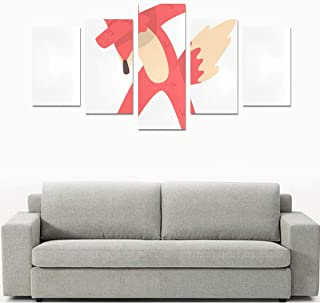 Liaosax Canvas Wall Prints Girls Wall Art Dabbing Rap Standing Fox No Frame 5 Pieces Paintings Posters Prints On Canvas Hang for Bedroom Home Office Wall Decor