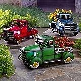 AHURGND Pote de la camioneta solar de la camioneta, la flor de la decoración del jardín, la decoración al aire libre del jardín del hogar, con la luz del coche, para el adorno de la mesa de escritorio