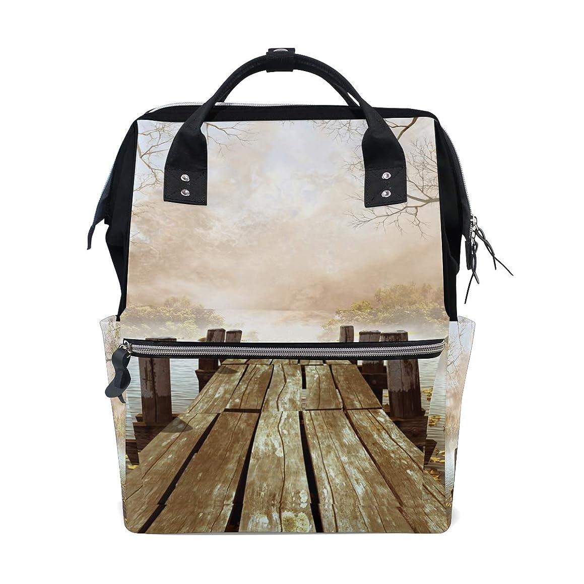 Wooden Bridge River School Backpack Large Capacity Mummy Bags Laptop Handbag Casual Travel Rucksack Satchel For Women Men Adult Teen Children