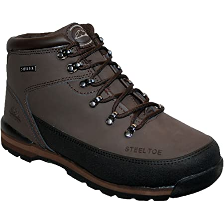 MENS LEATHER UPPERS SMART/CASUAL LACE UP STEEL TOE CAP SAFETY BOOT BROWN 7