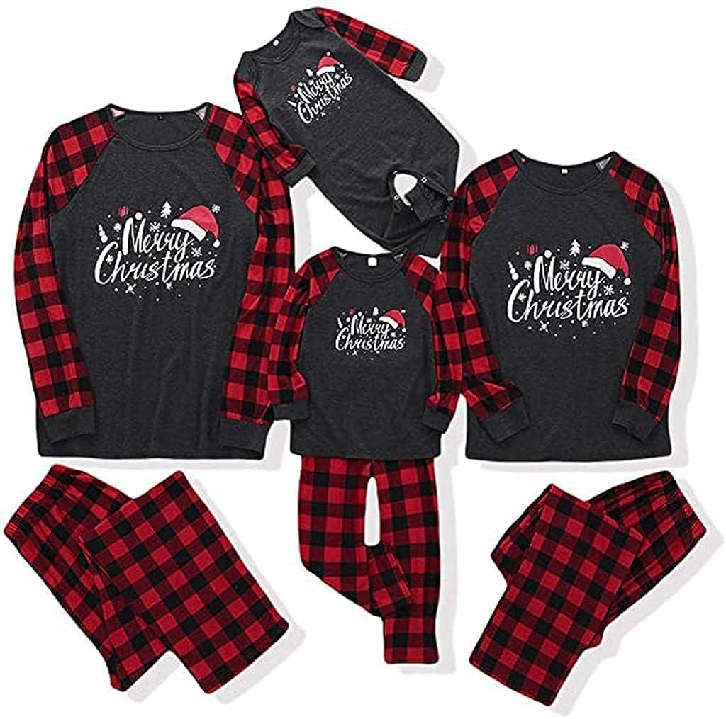 Family Matching Christmas Pajamas Sets Mom Dad Kids Xmas Holiday PJs Sleepwear Letter Printed Top with Plaid Bottom