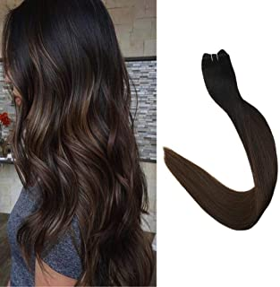 Full Shine 16 inch Hair Weft In Human Hair Extensions Remy Hair Full Head Hair Bundles Balayage Color #1B Black Fading to #4 Dark Brown Weave Remy Hair 100g Per Pack