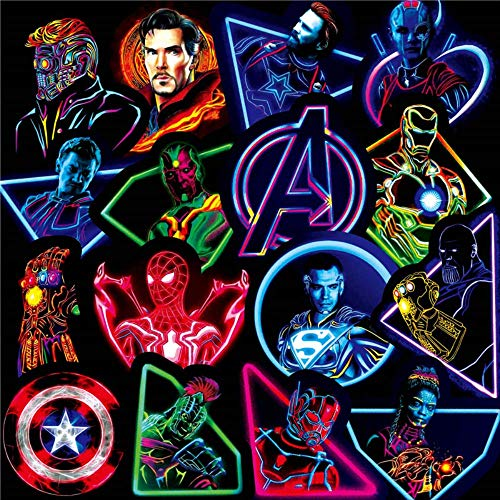 YMSD Neon Marvel Superhero Graffiti Sticker Luggage Trolley Guitar Cartoon Sticker 60pcs