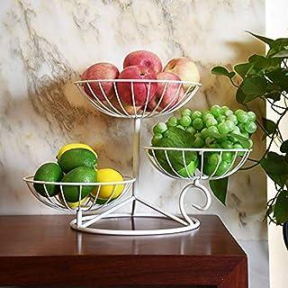LCZ Grande Corbeille A Fruits 3 Etages - Panier A Fruits A Etages en Métal Décoration Plan De Travail - Coupe De Fruit Des...