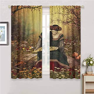 GUUVOR Medieval All Season Insulation Lady Sitting on Stone and Reading Book Forest Flowers Grass Trees Medieval Time Noise Reduction Curtain Panel Living Room W42 x L72 Inch Multicolor