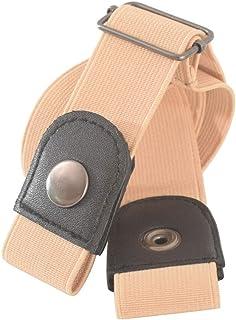 TMYQM حزام خصر مرن غير مرئي بدون عناق مرن للنساء والرجال سراويل الجينز اللباس حزام قابل للتعديل بدون متاعب حزام (اللون: كاكي)