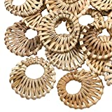 CHGCRAFT 50pcs Handmade Reed Cane Pendants Rattan Woven Pendants Burlywood Falt Round Pendats for Straw Earrings Necklaces Making Hole 16mm