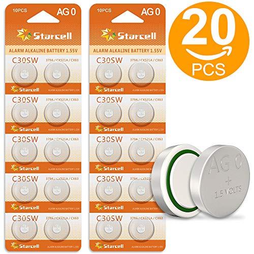 Stacrell AG0 LR521 379 SR521SW Uhrenbatterien, 20 Stück