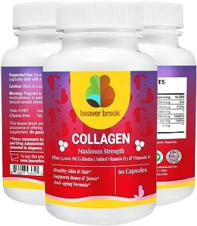 Beaver Brook Collagen Anti-Aging Formula Capsules Collagen 900mg + 5,000 mcg Biotin; Non-GMO and Gluten-Free - 60 Capsules