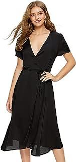 Escalier Women's Floral Wrap Dress Split Short Sleeve V Neck Tie Front Chiffon Summer Party Midi Dresses
