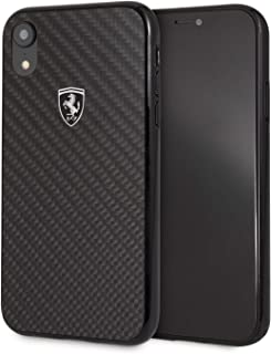 CG Mobile Ferrari iPhone Xr Case Cell Phone Carbon Fiber | Easily Accessible Ports | Officially Licensed. (Black)