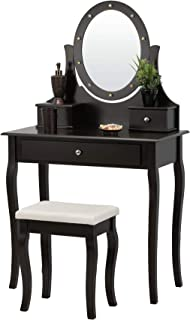 Fineboard LED Lights Vanity Table Set with Stool and Mirror with 3 Drawers, Brown